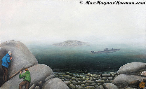 Click to enlarge the picture / the image / the painting THE GREEN SUBMARINE the picture / the image / the painting THE SEA FALCON
